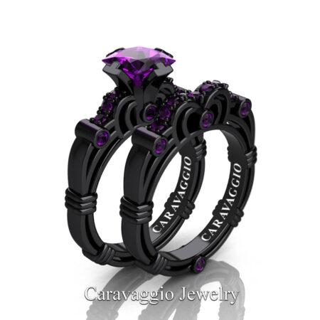 Caravagio-14K-Black-Gold-1-25-Carat-Princess-Amethyst-Engagement-Ring-Wedding-Band-Set-R623PS-14KBGAM