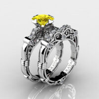Art Masters Caravaggio 925 Sterling Silver 1.25 Ct Princess Yellow Sapphire Diamond Engagement Ring Wedding Band Set R623PS-925SSDYS