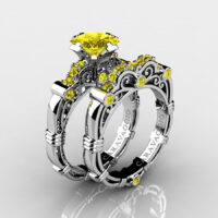 Art Masters Caravaggio 925 Sterling Silver 1.25 Ct Princess Yellow Sapphire Engagement Ring Wedding Band Set R623PS-925SSYS