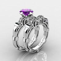Art Masters Caravaggio 925 Sterling Silver 1.25 Ct Princess Amethyst Diamond Engagement Ring Wedding Band Set R623PS-925SSDAM