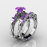 Art Masters Caravaggio 925 Sterling Silver 1.25 Ct Princess Amethyst Engagement Ring Wedding Band Set R623PS-925SSAM