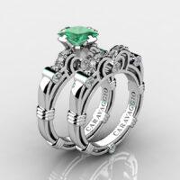 Art Masters Caravaggio 925 Sterling Silver 1.25 Ct Princess Emerald Diamond Engagement Ring Wedding Band Set R623PS-925SSDEM