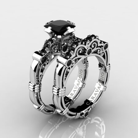 Art-Masters-Caravaggio-925-Sterling-Silver-1-25-Carat-Princess-Black-Diamond-Engagement-Ring-Wedding-Band-Bridal-Set-R623PS-925SSBD-P