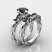 Art Masters Caravaggio 925 Sterling Silver 1.25 Ct Princess Black Sapphire Engagement Ring Wedding Band Set R623PS-925SSBLS