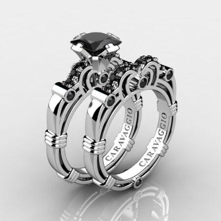 Art-Masters-Caravaggio-925-Sterling-Silver-1-25-Carat-Princess-Black-Sapphire-Engagement-Ring-Wedding-Band-Bridal-Set-R623PS-925SSBLS-P