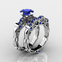 Art Masters Caravaggio 925 Sterling Silver 1.25 Ct Princess Blue Sapphire Engagement Ring Wedding Band Set R623PS-925SSBS
