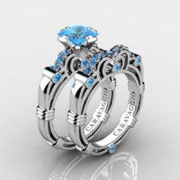 Art Masters Caravaggio 925 Sterling Silver 1.25 Ct Princess Blue Topaz Engagement Ring Wedding Band Set R623PS-925SSBT