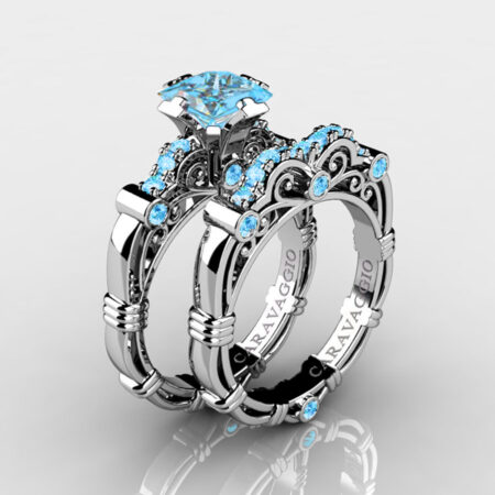 Art-Masters-Caravaggio-925-Sterling-Silver-1-25-Carat-Princess-Blue-Topaz-Engagement-Ring-Wedding-Band-Bridal-Set-R623PS-925SSBT-P