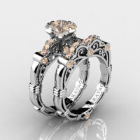 Art Masters Caravaggio 925 Sterling Silver 1.25 Ct Princess Champagne Diamond Engagement Ring Wedding Band Set R623PS-925SSCHD