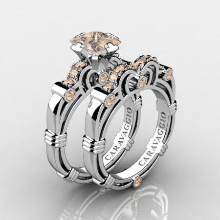 Art-Masters-Caravaggio-925-Sterling-Silver-1-25-Carat-Princess-Champagne-Diamond-Engagement-Ring-Wedding-Band-Bridal-Set-R623PS-925SSCHD-P