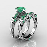 Art Masters Caravaggio 925 Sterling Silver 1.25 Ct Princess Emerald Engagement Ring Wedding Band Set R623PS-925SSEM