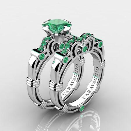 Art-Masters-Caravaggio-925-Sterling-Silver-1-25-Carat-Princess-Emerald-Engagement-Ring-Wedding-Band-Bridal-Set-R623PS-925SSEM-P