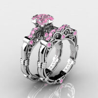 Art Masters Caravaggio 925 Sterling Silver 1.25 Ct Princess Light Pink Sapphire Engagement Ring Wedding Band Set R623PS-925SSLPS