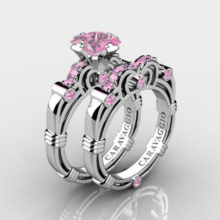 Art-Masters-Caravaggio-925-Sterling-Silver-1-25-Carat-Princess-Light-Pink-Sapphire-Engagement-Ring-Wedding-Band-Bridal-Set-R623PS-925SSLPS-P