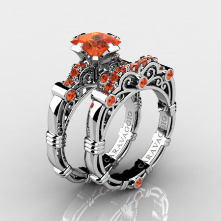 Art-Masters-Caravaggio-925-Sterling-Silver-1-25-Carat-Princess-Orange-Sapphire-Engagement-Ring-Wedding-Band-Bridal-Set-R623PS-925SSOS-P