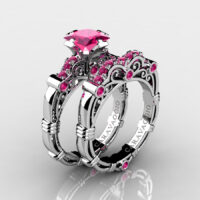 Art Masters Caravaggio 925 Sterling Silver 1.25 Ct Princess Pink Sapphire Engagement Ring Wedding Band Set R623PS-925SSPS