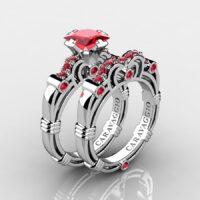 Art Masters Caravaggio 925 Sterling Silver 1.25 Ct Princess Ruby Engagement Ring Wedding Band Set R623PS-925SSR