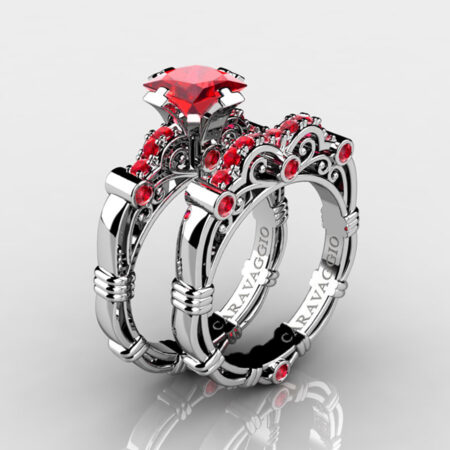 Art-Masters-Caravaggio-925-Sterling-Silver-1-25-Carat-Princess-Ruby-Engagement-Ring-Wedding-Band-Bridal-Set-R623PS-925SSR-P