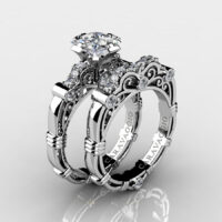 Art Masters Caravaggio 925 Sterling Silver 1.25 Ct Princess White Topaz Engagement Ring Wedding Band Set R623PS-925SSWT